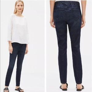 Eileen Fisher Stretch Jeans Organic Cotton-Blend Pull-On Jeggings Pants Denim S